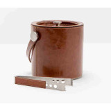 Bristol Tobacco Leather Ice Bucket W/Tong Round