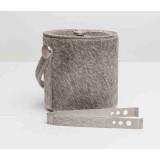 Browmley Gray Ice Bucket W/Tong Rd Cowhide