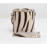 Browmley Zebra Ice Bucket W/Tong Rd Cowhide