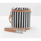 Montauk Striped Canvas W/ Leather Trim Ice Bucket W/Tong Round
