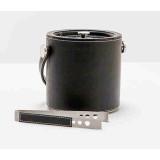 Sora Black Leather W/White Stitching Ice Bucket W/Tong Round