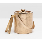 Winsford Antique Brass Ice Bucket W/Tong Round Etched Metal