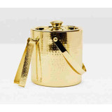 Winsford Shiny Brass Ice Bucket W/Tong Rd Etched Metal