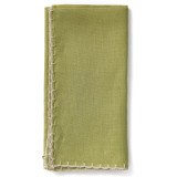Whipstitch Olive With Natural Napkin - 20 in. sq