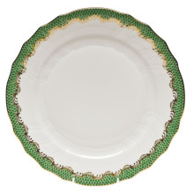 Fish Scale White Jade Green Border Dinnerware