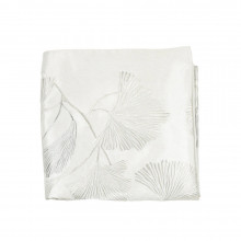 Ginkgo Leaf Embroidered Throw Ivory 50x60 | Gracious Style