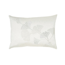 Ginkgo Leaf Embroidered Pillow Ivory 14x20 | Gracious Style