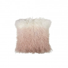 Dip Dye Curly Sheepskin Pillow Blush 18x18 | Gracious Style
