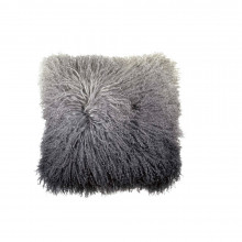 Dip Dye Curly Sheepskin Pillow Charcoal 18x18 | Gracious Style