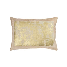 Distressed Metallic Lace Pillow Blush 14x20 | Gracious Style