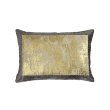Distressed Metallic Lace Pillow Gray 14x20 | Gracious Style