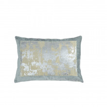 Distressed Metallic Lace Pillow Seafoam 14x20 | Gracious Style