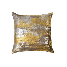 Distressed Metallic Velvet Print Pillow Silver 20x20 | Gracious Style