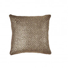 Metallic Palm Basketweave Pillow Chocolate 18x18 | Gracious Style