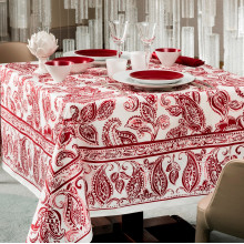 Diner En Ville Red Print Table Linens | Gracious Style