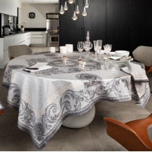 Chambord Grey Print Table Linens | Gracious Style