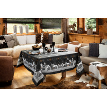 Nuit Etoilee Anthracite Print Table Linens | Gracious Style