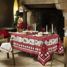 A La Neige Red Print Table Linens | Gracious Style