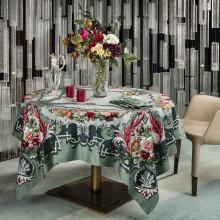 Arne Celadon Print Table Linens | Gracious Style