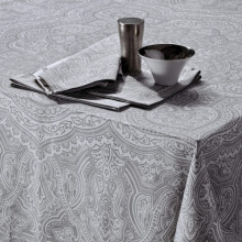 Marella Grey Print Table Linens | Gracious Style