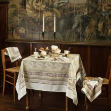 Feuilles De Vigne Hazelnut Print Table Linens | Gracious Style