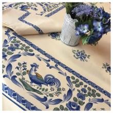 Les Coqs Blue Print Table Linens | Gracious Style