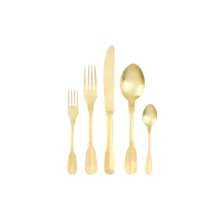 Madrid 5Pc Matte Gold Flatware | Gracious Style