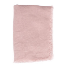 Casual Linen Fringe Solid Pink Square Tablecloth 55 x 55 in | Gracious Style