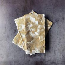 Peony Gold (Large) Printed Metallic Linen/Cotton Blend Napkins - Set of Four | Gracious Style