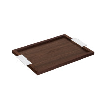Madison 6 Silver Plated And Walnut Wood Tray, Small Size | Gracious Style