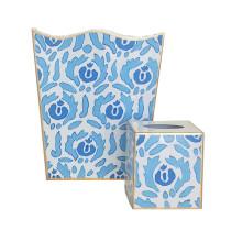 Beaufont Blue Tole Wastebasket | Gracious Style