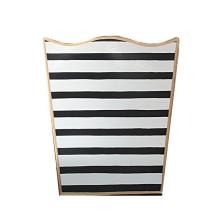 Penstripe Black Tole Wastebasket | Gracious Style