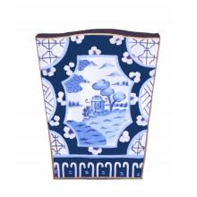 Canton Blue Tole Wastebasket | Gracious Style