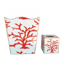Coral Coral Tole Wastebasket | Gracious Style