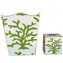 Coral Green Tole Wastebasket | Gracious Style