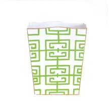 Fret Green Tole Wastebasket | Gracious Style