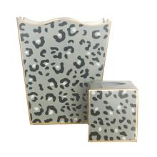 Grey Leopard Tole Wastebasket | Gracious Style