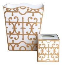 Gold Klimt Tole Wastebasket | Gracious Style