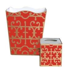 Orange Klimt Tole Wastebasket | Gracious Style