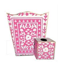 Mosaic Pink Tole Wastebasket | Gracious Style