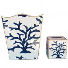 Coral Navy Tole Wastebasket | Gracious Style