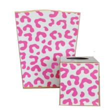 Pink Ocelot Tole Wastebasket | Gracious Style