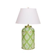 Green Block Print Tea Caddy Tole Table Lamp | Gracious Style