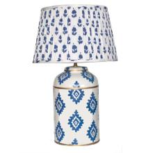 Navy Block Print Tea Caddy Tole Table Lamp | Gracious Style