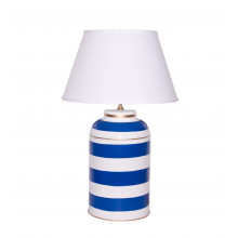 Navy Stripe Tea Caddy Tole Table Lamp | Gracious Style