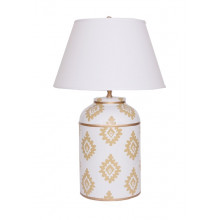 Taupe Block Print Tea Caddy Tole Table Lamp | Gracious Style