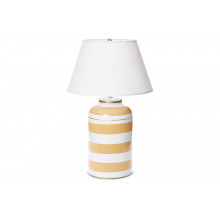 Taupe Stripe Tea Caddy Tole Table Lamp | Gracious Style