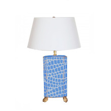 Blue Croc Tole Table Lamp White Shade | Gracious Style