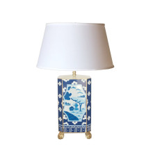 Canton Blue Tole Table Lamp with White Shade | Gracious Style