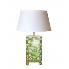 Canton Green Tole Table Lamp with White Shade | Gracious Style